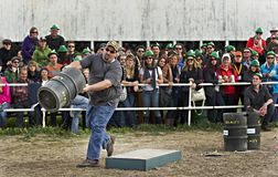 Beau's Oktoberfest 2012. Carl Lamarche competing in the men's Keg distance throwing competition at the Beau's forth annual Oktoberfest held at Vankleek Hill Stock Images