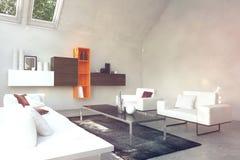 Beau salon inspiré blanc Images stock