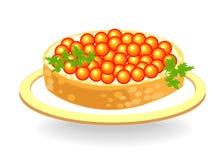 Beau sandwich Pain blanc avec du beurre et le caviar rouge Produit délicieux et sain D?coration de la table de f?te Vecteur illustration libre de droits