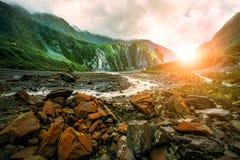 Beau scénique de la côte ouest southland Nouvelle Zélande de glacier de renard photos libres de droits