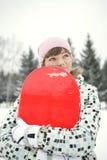 Beau snowborder de fille photographie stock