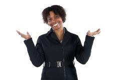 Beau sourire africain de femme d'affaires de femme Photo stock