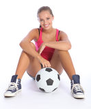 Beau sourire de jeune fille d'adolescent de sports photos stock