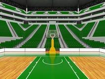 Beau stade de sport moderne pour le basket-ball avec les chaises vertes Images libres de droits