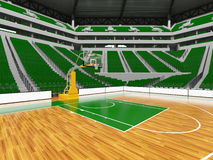 Beau stade de sport moderne pour le basket-ball avec les chaises vertes Photos libres de droits