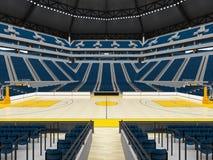 Beau stade de sport moderne pour le basket-ball avec les sièges bleus et la peinture jaune Image stock