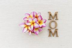 Beau texte en bois de fleur et de maman sur le fond de toile Photographie stock libre de droits