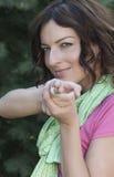 Beau tir de femme avec la main Photographie stock
