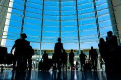 Beau tir de jour d'intérieur d'aéroport Front Window de Lisbonne dessus Photo stock