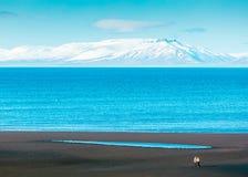 Beau tir large de la mer avec la montagne blanche stupéfiante à l'arrière-plan photographie stock libre de droits