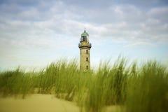 Beau vieux phare de Warnemuende Photographie stock