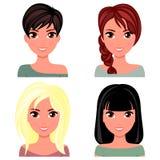Beau visage de femme avec différentes coiffures Belle fille de bande dessinée dans le style plat de conception illustration libre de droits