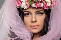 Beau visage de femme Jeune modèle femelle mignon Photo libre de droits