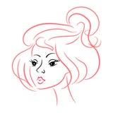 Beau visage de fille. contour rose. caractère Photos stock