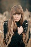 Beau visage de fille Portrait de plan rapproché dans des couleurs brunes et beiges de fille assez sérieuse avec de longs cheveux  Photo libre de droits