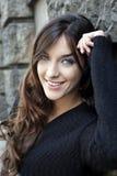 Beau visage de jeune femme avec des yeux bleus photo libre de droits