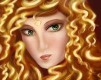 Beau visage femelle, femme féerique illustration de vecteur