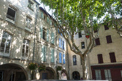 Beaucaire. (Gard, Languedoc-Roussillon, France) - The typical old square Stock Images