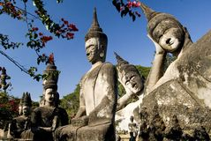 Beaucoup Buddhas - Vientiane. Le Laos Photo stock