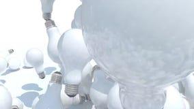 Beaucoup chute d'ampoule sur le fond blanc banque de vidéos
