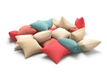Beaucoup colorent des coussins sur le fond blanc illustration 3D Photos libres de droits