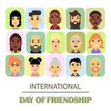 Beaucoup d'amis de différents genres et nationalités comme symbole de jour international d'amitié illustration stock