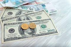 Beaucoup d'argent, roubles, dollars Photos libres de droits