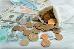 Beaucoup d'argent, roubles, dollars Images libres de droits