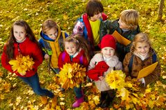 Beaucoup d'enfants avec des feuilles d'érable Photo stock
