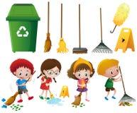 Beaucoup d'enfants faisant des corvées avec différents équipements illustration stock