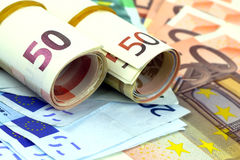 Beaucoup d'euro billets de banque Photos stock