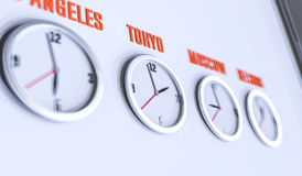 Beaucoup d'horloges sur l'illustration blanche du mur 3d Photos libres de droits