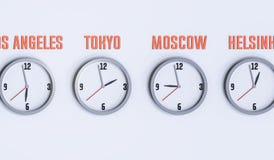 Beaucoup d'horloges sur l'illustration blanche du mur 3d Photographie stock libre de droits