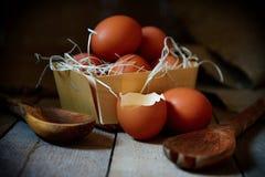Beaucoup d'oeufs de village se situent dans un panier en osier dans la cage de poulet sur le plancher en bois photographie stock libre de droits