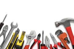 Beaucoup d'outils sur le fond blanc Photographie stock libre de droits