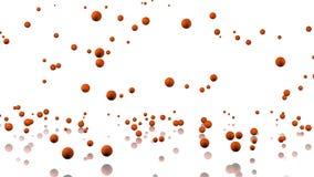 Beaucoup de basket-balls pleuvant avec un plancher se reflétant Image libre de droits