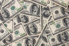 beaucoup de billets de banque des 100 dollars Photo stock