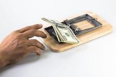 Beaucoup de billets de banque dans la trappe de souris Image stock