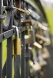 Beaucoup de blocages en métal s'arrêtent sur la frontière de sécurité noire Photographie stock