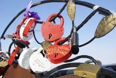 Beaucoup de blocages sous forme de coeur Photos libres de droits