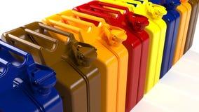 Beaucoup de boîtes métalliques avec différents types de carburant Essence, diesel, huile 27 banque de vidéos