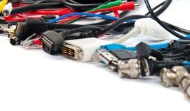Beaucoup de câbles d'ordinateur Images libres de droits