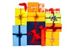 Beaucoup de cadres de cadeau colorés de Noël photographie stock libre de droits