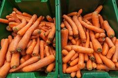 Beaucoup de carotte dans les paniers au marché Photographie stock libre de droits