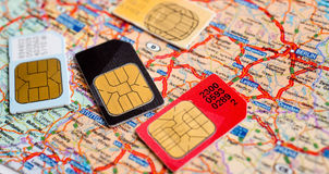 Beaucoup de cartes de sim images stock