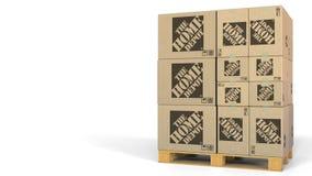 Beaucoup de cartons avec le logo de Home Depot Animation 3D éditoriale illustration libre de droits