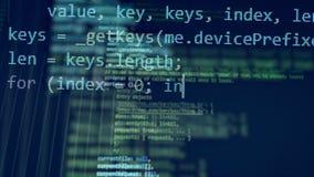 Beaucoup de chiffres se déplacent sur un moniteur, créant un code de programmation banque de vidéos