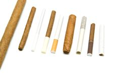 Beaucoup de cigarettes et de cigares Photos libres de droits