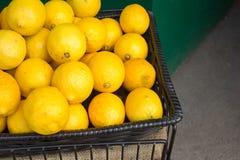 Beaucoup de citrons dans un panier photographie stock libre de droits
