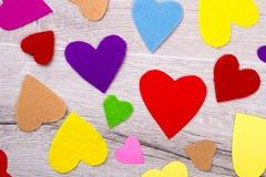 Beaucoup de coeurs colorés Photographie stock libre de droits